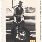 Vintage African American Handsome Man On Car Old Photo Black Americana V064