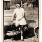 Vintage Pretty African American Woman By Car Old Photo Black Americana V091