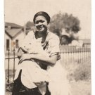 Antique Pretty African American Woman with Dog Photo Black Americana V090