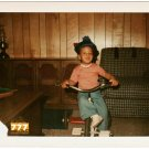 Vintage 1970s Cute African American Black Boy on Tricycle Old Color Photo CO07