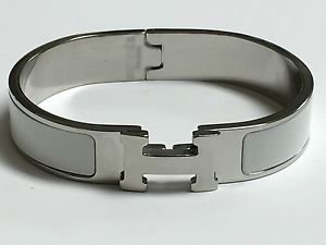 "Articulating H white gold plated 16 6.25"" bangle bracelet white PREMIUM QUALITY"