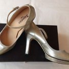 Repetto FOXY Silver metallic distressed leather platform shoes mary jane 40 NIB