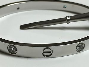 LUXURY LOVE BRACELET 18kt WGPlated bangle 4 crystals screwdriver 19 HIGH QLTY
