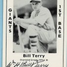 Bill Terry Autographed TCMA CArd Diamond Great #30 1979