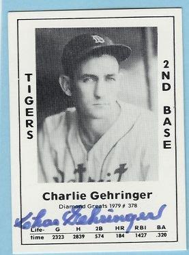 Charlie Gehringer 1979 TCMA Autographed card Tigers