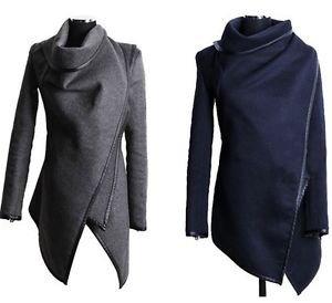 NEW Women's Wool Wrap Coat Jacket, Gray, Navy Blue or Black - Small Medium Large