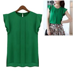 NEW Women's Cute Career Top Blouse in Chiffon Green Sleeveless - Medium