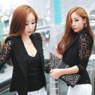 NEW Ladies Black Lace Trimmed Vintage Shirt Blazer Jacket, Large, 8, Express H&M