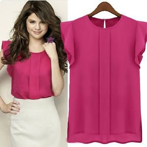 NEW Women's Cute Career Top Blouse in Pink Chiffon Sleeveless - Small Med Large
