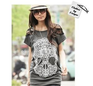 NEW Women's Skull Lace Tunic Top Punk Shirt, Large, ie Zara, H&M, Forever 21