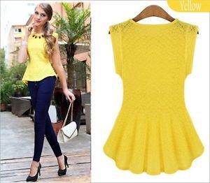 NEW Career Pinup Peplum Top Blouse - Medium-Yellow or White - Zara, Express, H&M