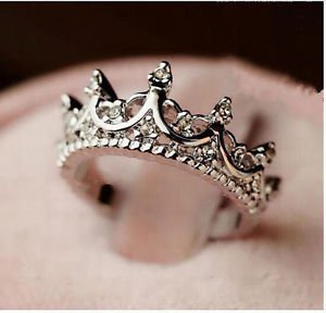 NEW Princess Crown Ring Bejeweled Silver Tone With Crystal Accent Cute Vintage