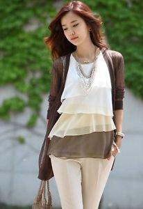 NEW Ladies Chiffon Sleeveless Shirt Career Top Blouse, Medium, i.e Zara Yesstyle