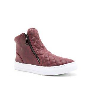 NEW Qupid Reba Quilted Zip-Up Hitops Sneakers in Burgundy 8.5, 8 1/2, H&M, Vans