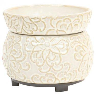 Cream Flower 2-n-1 Candle Tart Electric Ceramic Warmer