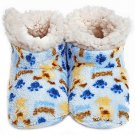 Cream & Light Blue Skidders® Puppy Love Size 6-12M Plush Booties
