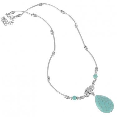 """18 1/2"""" Fashion Silver Tube Chain Oval Turquoise Necklace"""