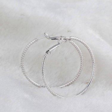 1 Pr Silver Fashion Hoop Earrings