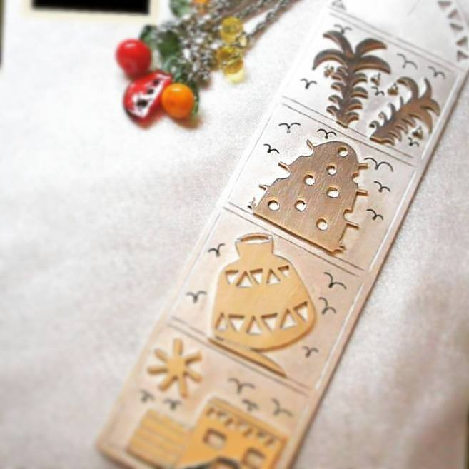 Egyptian Countryside Folkloric Bookmark - Silver and nickel plated Copper