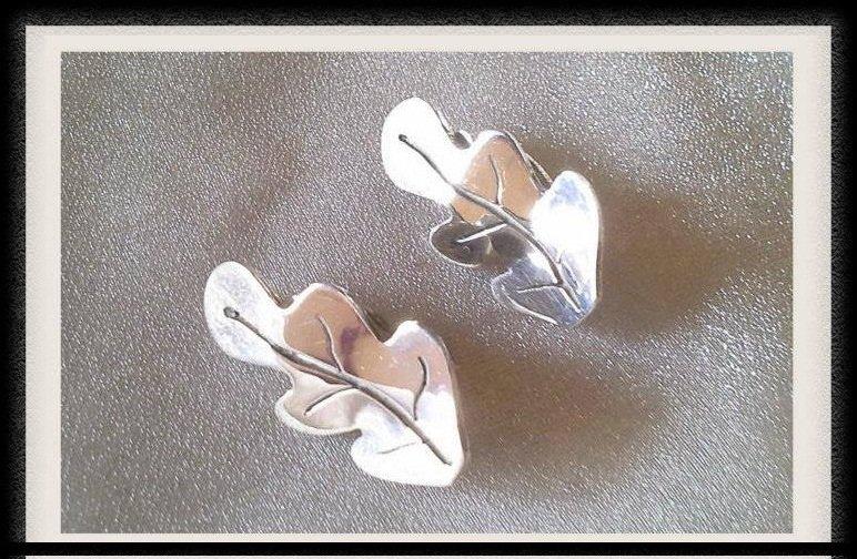 Gold Plated Silver Leaves Earrings - Hope Earrings - Handmade - 925 Sterling silver