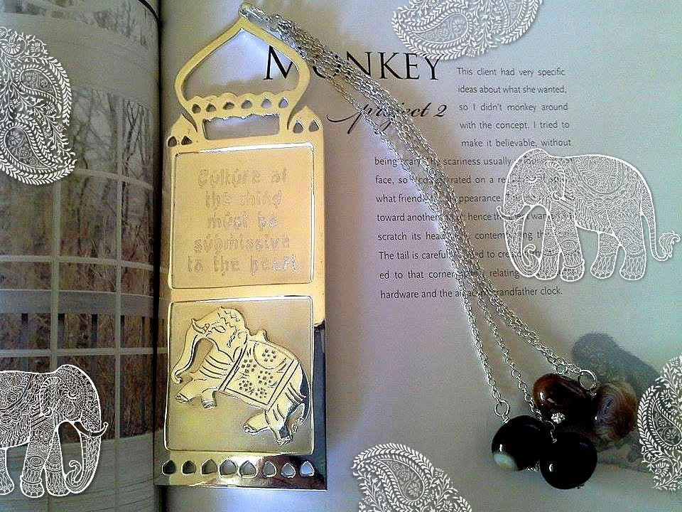 Silver and Nickel plated Bookmark - Indian designed with Gandhi Quote - Handmade