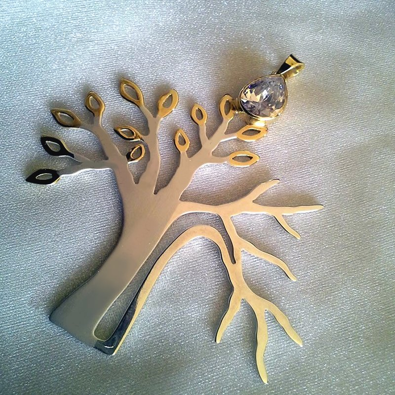 Half Healthy Half weak Tree - Silver Pendent - Hand Made