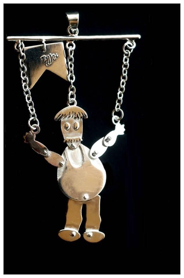 Chubby Farmer Marionette Sterling Silver Pendant / Key Chain - handmade