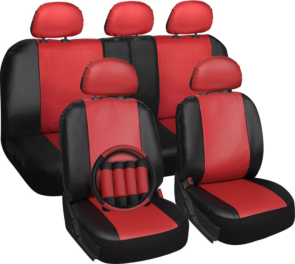 Faux Leather Car Seat Cover For Kia Soul Red With Steering