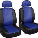 Faux Leather Blue Black Seat Cover 6pc for Honda Civic w/Head Rests