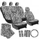 21pc Black White Zebra Print Seat Covers Full Set Floor Mats Steering Wheel
