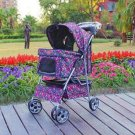 New BestPet Large Fashion Flower 4 Wheels Pet Dog Cat Stroller with RainCover