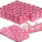 OxGord Dog Poop Bags Biodegradable for 700 Pink Waste Scoops w/ Leash Dispenser