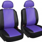 Faux Leather Purple Black Seat Cover 6pc for Honda Civic w/Detachable Head Rests