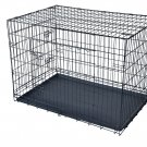 """Black 30"""" 2 Doors Pet Folding Suitcase Dog Cat Crate Cage Kennel Pen with ABS Tray"""