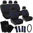 20pc Set Blue Black SUV Seat Covers Wheel Pads Head Rests Floor Mats 3A