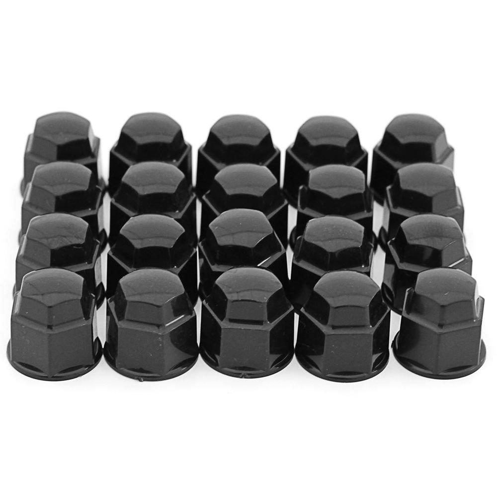 17mm Black Lug Nut Covers 20pc Set For Auto Car Wheel Rim