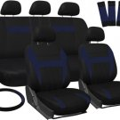 Car Seat Covers for Honda Civic Blue Black w/ Steering Wheel/Belt Pad/Head Rests