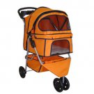 New Classic Fashion Orange 3 Wheels Pet Dog Cat Stroller with RainCover