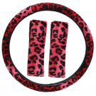 Animal Print Leopard Red Steering Wheel Cover 3PC Set for Car Truck Van SUV