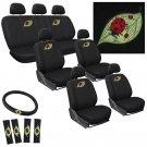 23pc Ladybug Seat Cover Embroider VAN Mesh Cloth Buckets 60/40 Split Bench AB1
