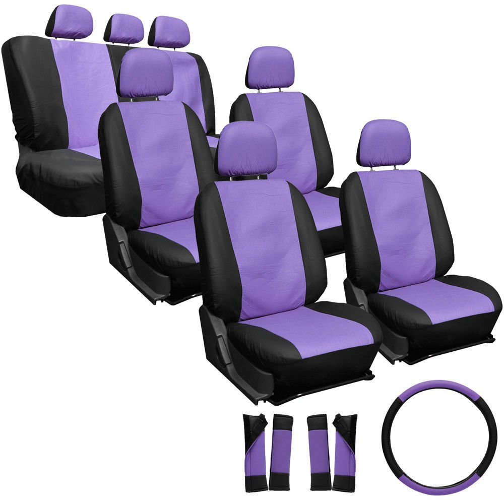 23pc Set Faux Leather Purple Black VAN Seat Covers Low Back + Extra 2 Chairs 4C