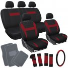 17pc Set Red Black Car Seat Cover Wheel Cover + Head Rests + Gray Floor Mats 1B