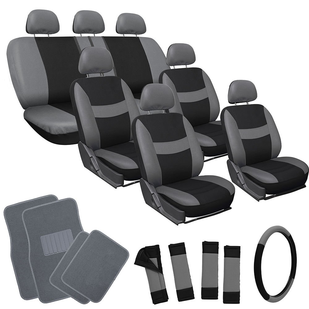 26pc Complete Gray Black SUV Auto Car Seat Cover Set with ...