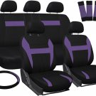 Seat Covers for Auto Set of Cloth Bucket/Bench/Steering Wheel/Belt Purple Black