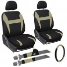 9 Piece Tan and Black Front Car Seat Cover Set Bucket Chairs with Wheel Cover 1B