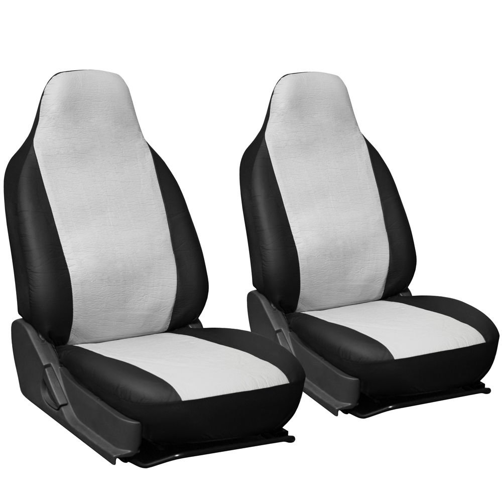 2pc Pu Leather White Integrated High Back Bucket Car Seat Covers 1e
