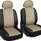 Faux Leather Black Tan Seat Cover 6pc for Honda Civic w/Head Rests