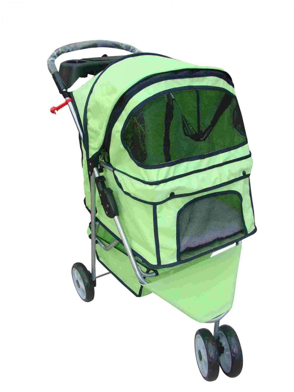 New BestPet Green Extra Wide 3 Wheel Pet Dog Cat Stroller Cage W/Rain Cover