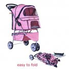 New BestPet Pink Grid Fashion 3 Wheels Pet Dog Cat Stroller with RainCover
