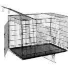 """New Black 30"""" 3 Doors Folding Dog Crate Cage Kennel w/Metal Pan NO DIVIDER"""